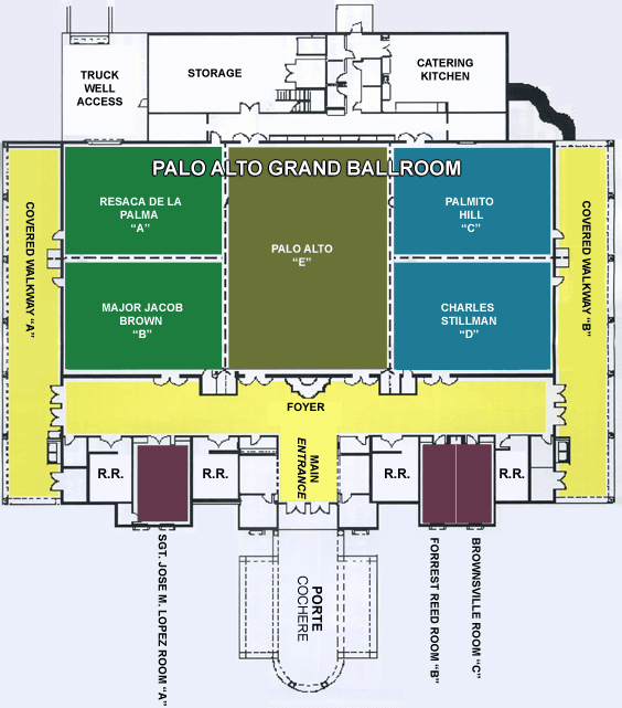 Events Center Floorplan showing all spaces