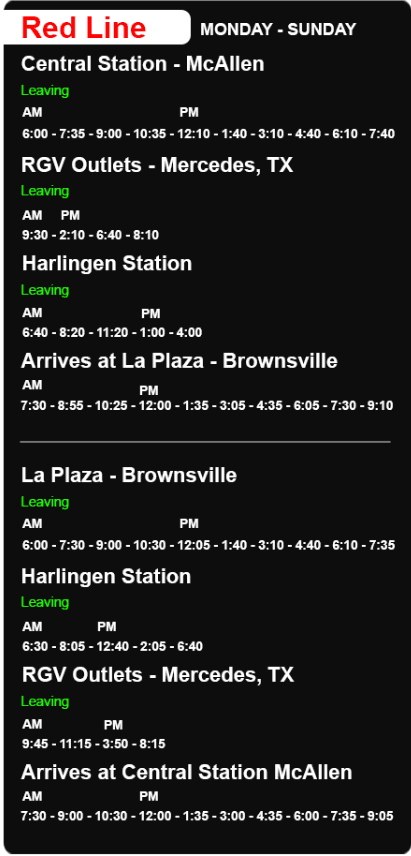 An image showing the schedule of the Red Line.