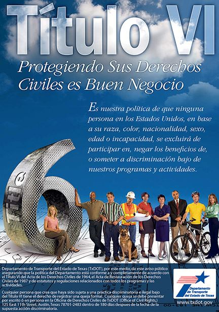 An Title VI flyer explaining Title VI in spanish.