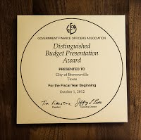 Distinguished Budget Presentation Award Plaque