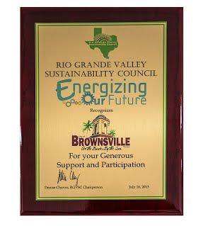 Rio Grande Valley Sustainability Council Energizing Our Future Plaque