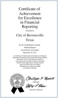 Certificate of Achievement for Excellence in Financial Reporting Report