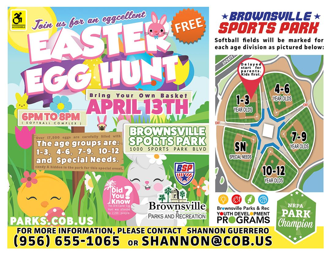 Brownsville Sports Park Egg Hunt with Map 2017