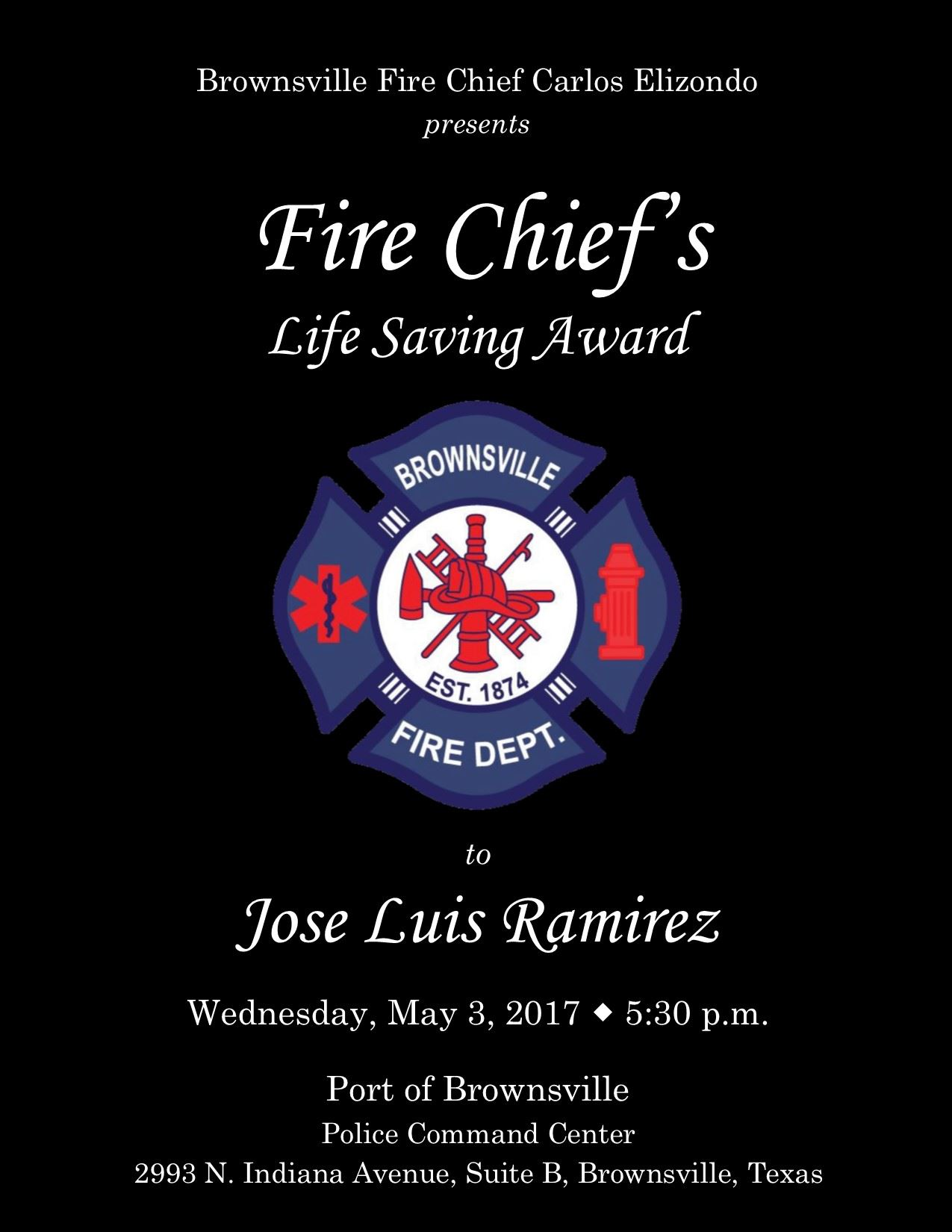 Fire Chief Life Saving Award