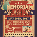 Memorial SPLASH DAY AT SAMS Pool 2017