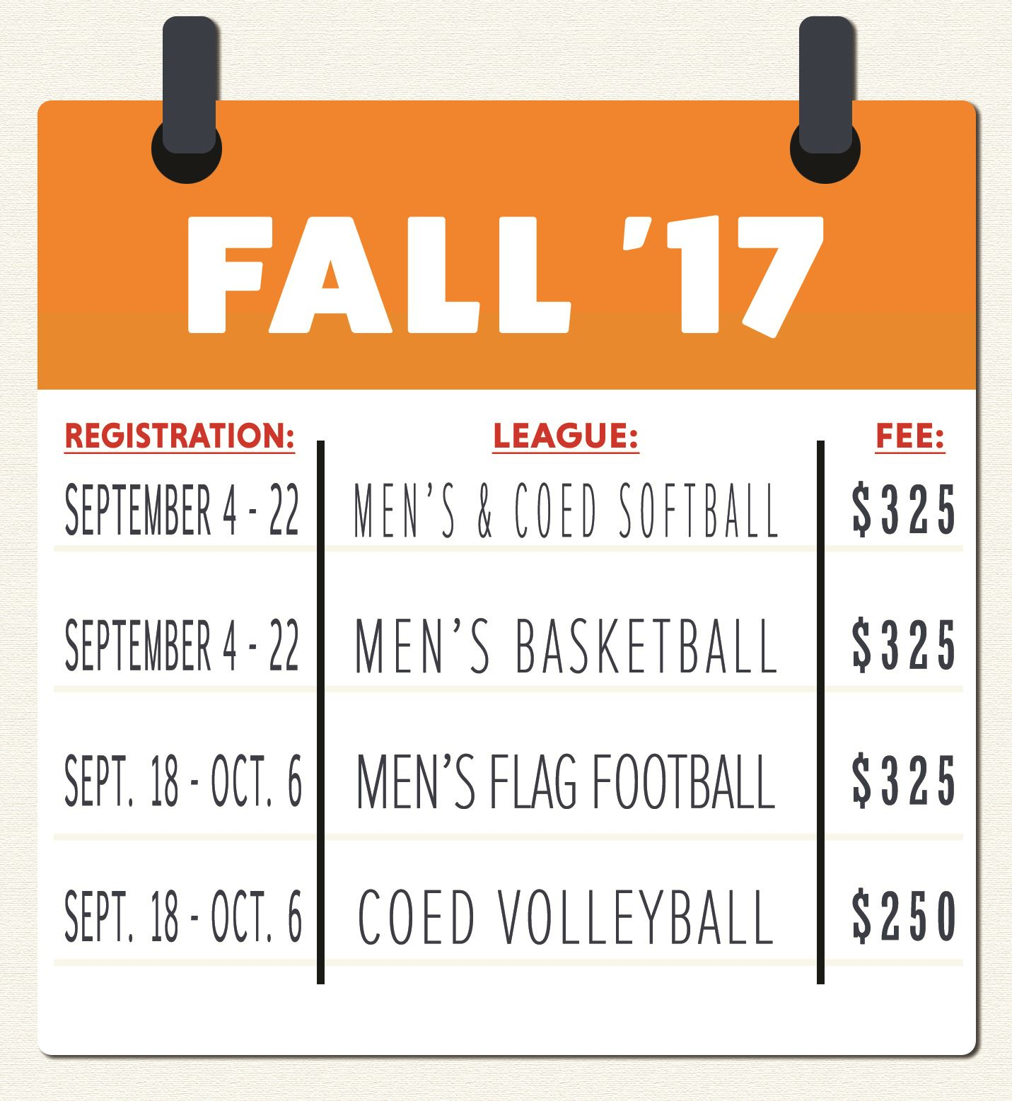 Brownsville Sports Park Fall  2017 Registration Dates