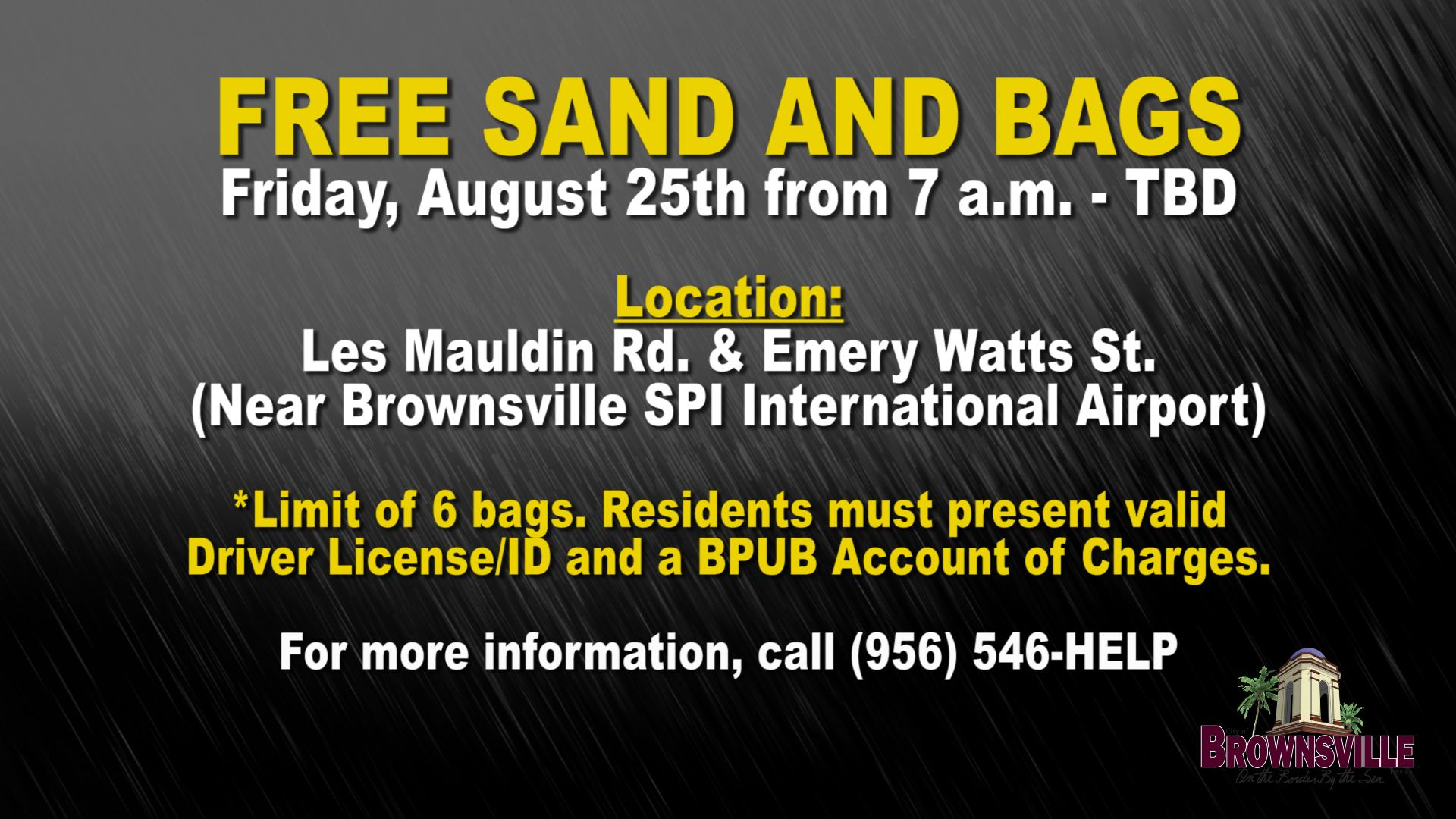 Sand and Bags Available - Flyer
