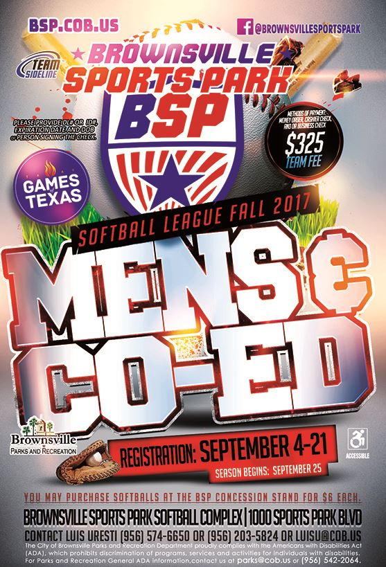 BSP softball coed and mens sports park fall league 2017