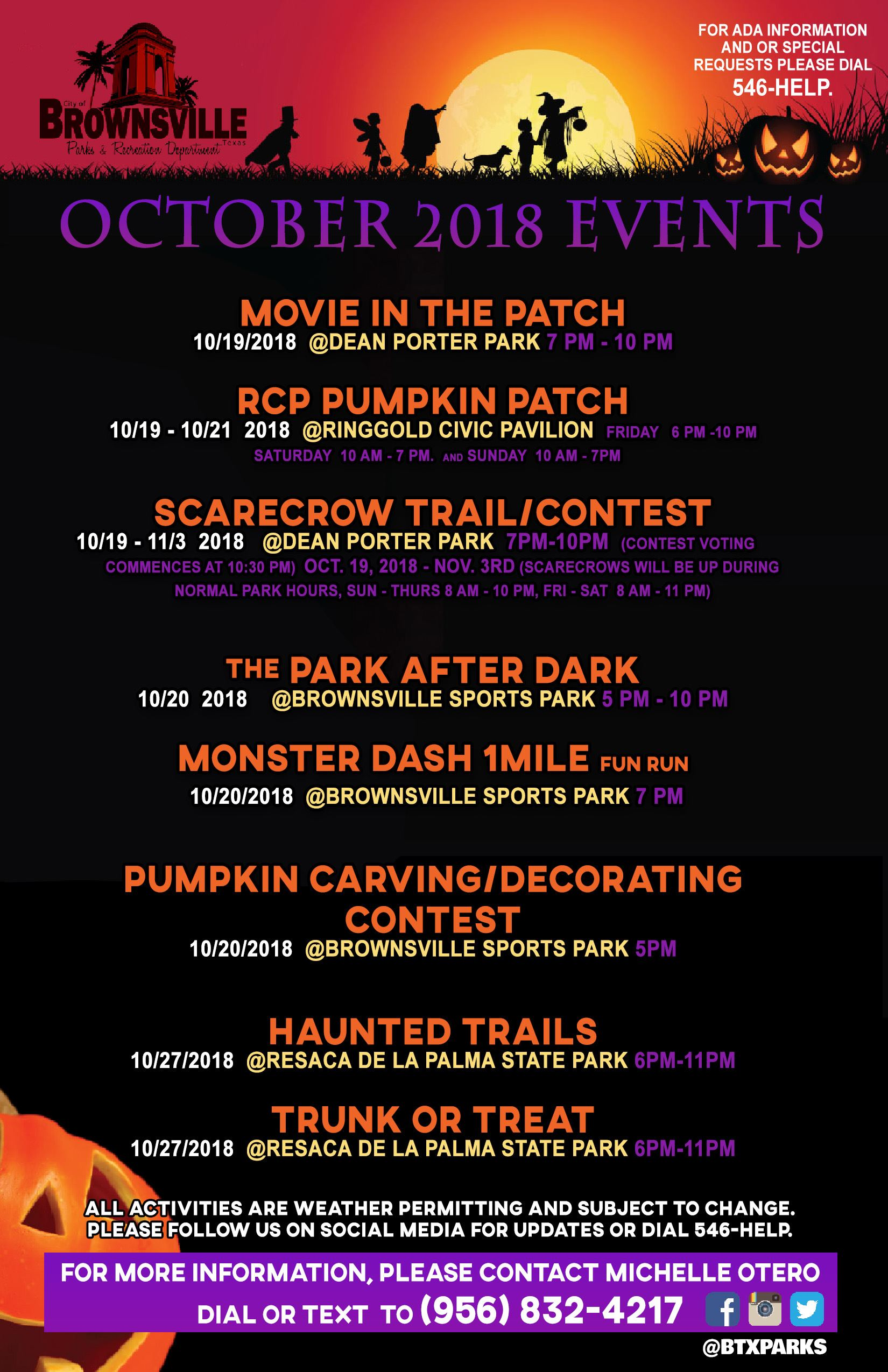 October events list halloween style 2018 b