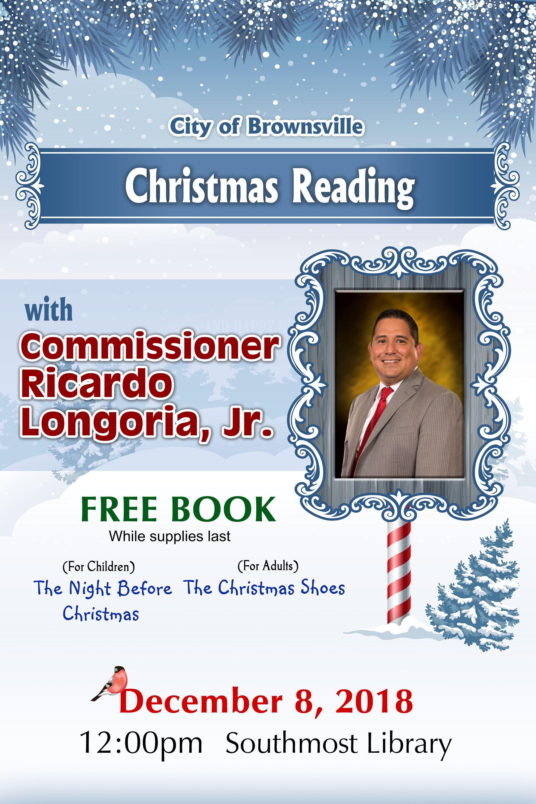 Reading with Commissioner Ricardo Longoria Jr.
