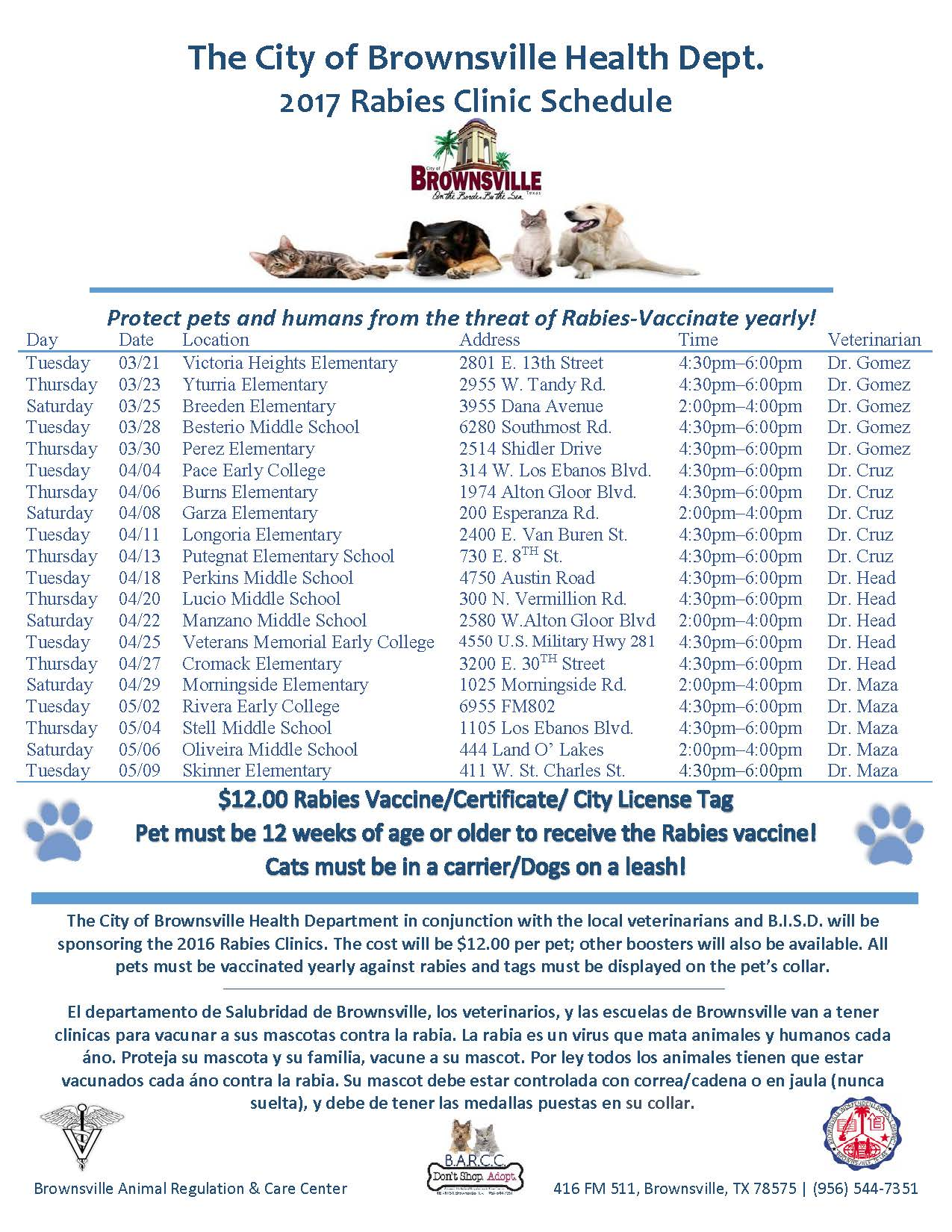 2017 Rabies Clinic Schedule Current