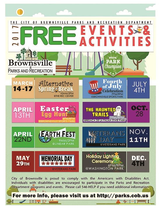 Free Activities Parks Events 2017